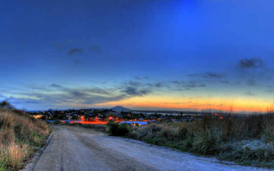 небо, город, вечер, природа, картинку, картинка, дорога, страница, огни, дороги,