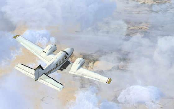oblaka, самолёт, небо