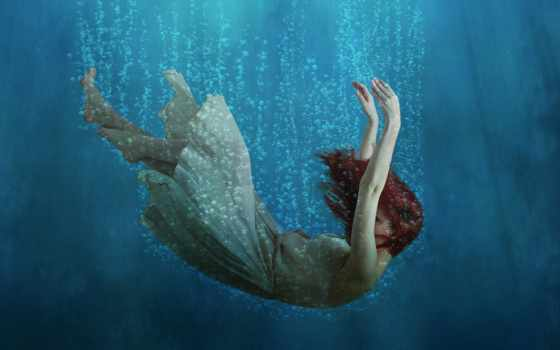 water, falling, девушка, fantasy, licensing,