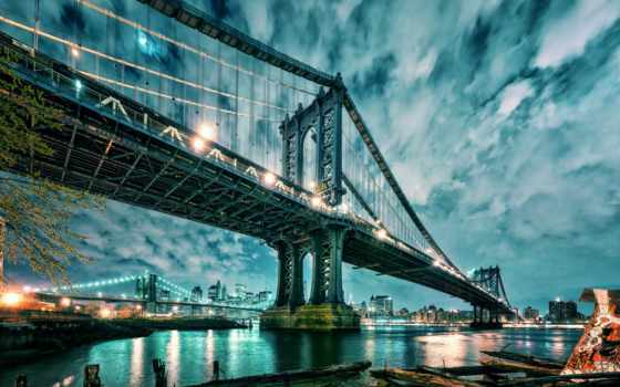 , мост, landscape, manhattan,Манхэттен, Нью-Йорк, Бруклин,