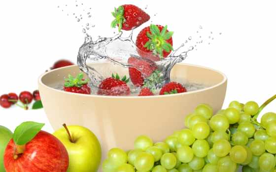 water, fruits, splash