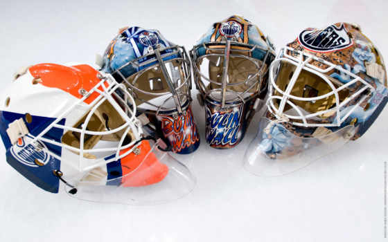 хоккеист, шлемы, хоккейные, лед, маски,,