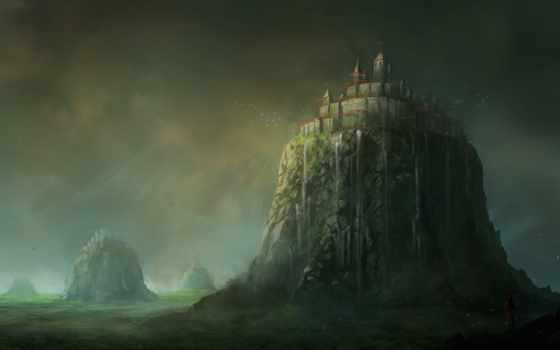 fantasy, art, castle, castles, desktop, landscape, hills,