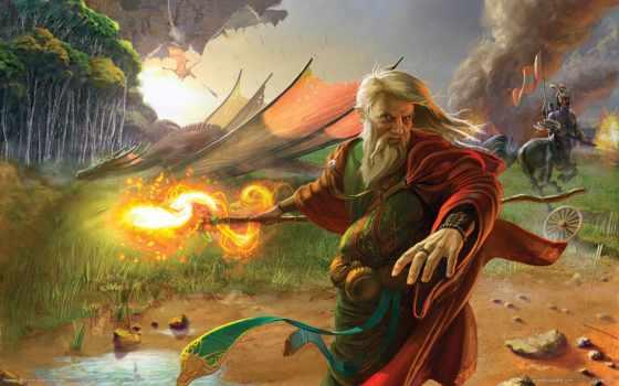 поле, их, дракон, магия, wizard, боя, druid,