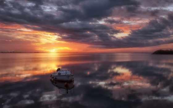 закат, friuli, venezia, giulia, европа, lagoon, time, grado, italy, со, rf