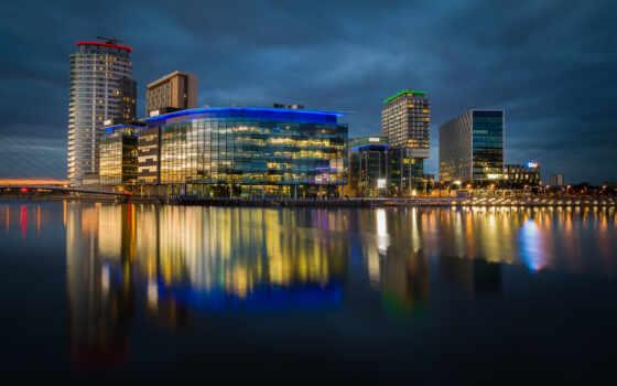 отражение, manchester, город, ночь, unite, мост