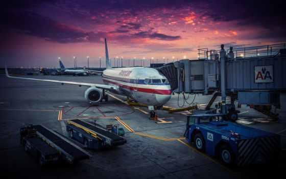 американский, airlines, самолёт