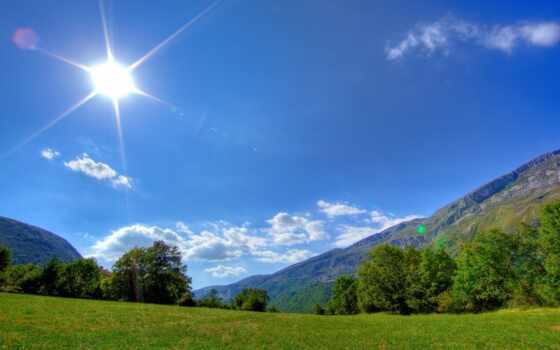 горы, солнце, трава
