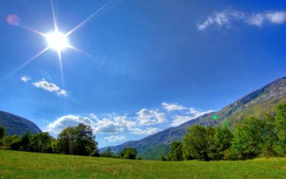 горы, солнце, трава, небо, утро, пейзажи -,