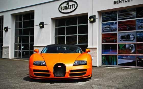 bugatti, veyron, оранжевый, cars, car, vitesse, спорт,