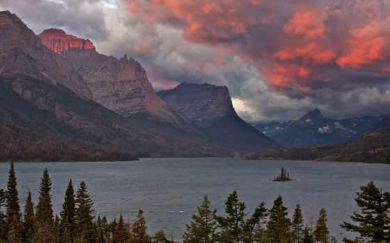озеро, national, park, photos, горы, mountains, glacier, мэри, закат,