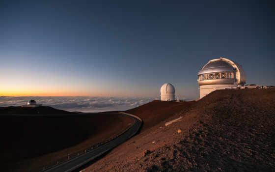 observatory, дорога, холмы, здания, oblaka, закат, dome, компьютер,