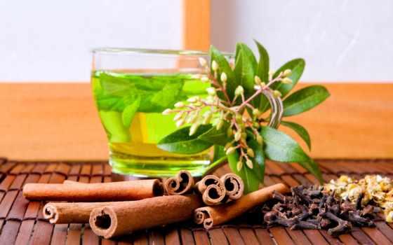 листва, чая, прозрачный, чая, корицей, чайник,