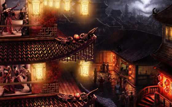 китаянка, игры, drawn, standard, fantasy, библиотека,