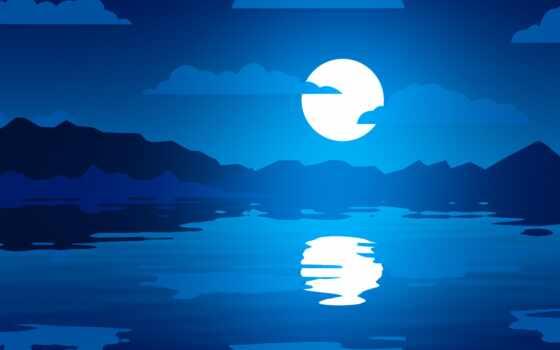 отражение, луна, resolution