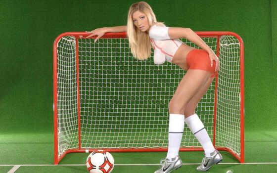 футболистки, девушки, изображение, бодиарт, часть,