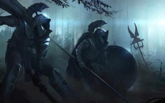 оружие, копья, тьма, доспехи, мечи, лес, войны, орудия, ночь, арт, картинка,