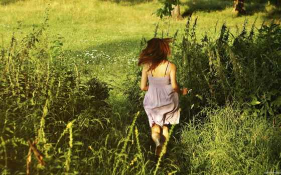 summer, девушка, трава