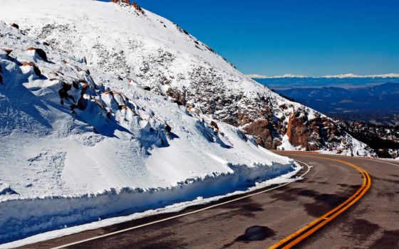 дорога, горы, снег,