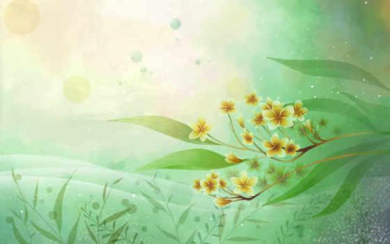 нарисованные, начало, цветы,