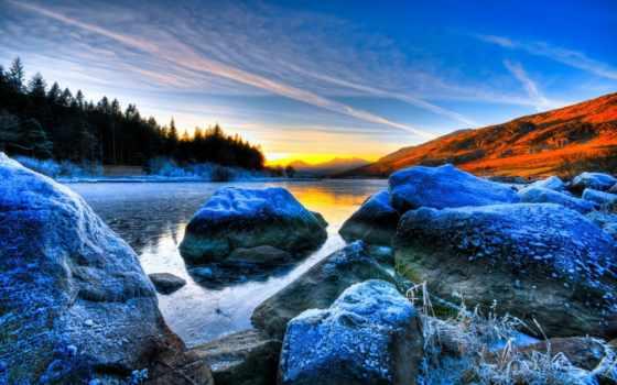 река, иней, камни, валуны, весна, pictures, небо, пришла,