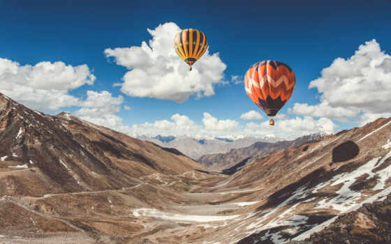 air, hot, balloons, balloon, небо, mountains,