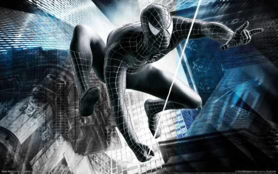 мужчина, паук, black