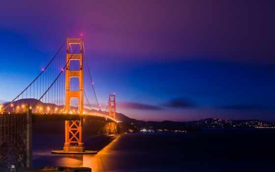 мост, золотистый, gate, san, francisco, огни, ночь, free, california,