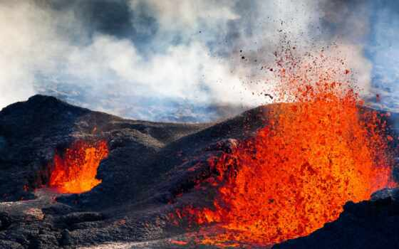 вулкан, магма, mobile, mayon, hawaii, фон, устройство, камень
