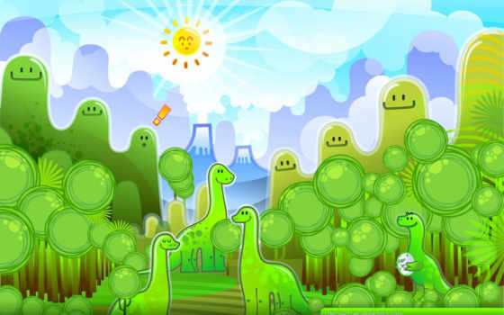 динозавры, dinosaur, вектор, зелёный, dinosaurs, dinosaurios, темы, funny, murals, wall,