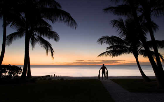 море, мужчина, горизонт
