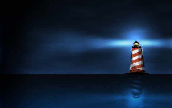 lighthouse, ночь, море