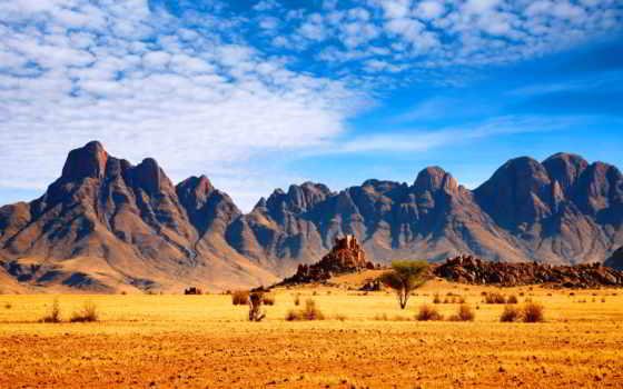 горы, пустыня, небо, кустарники, взгляд,