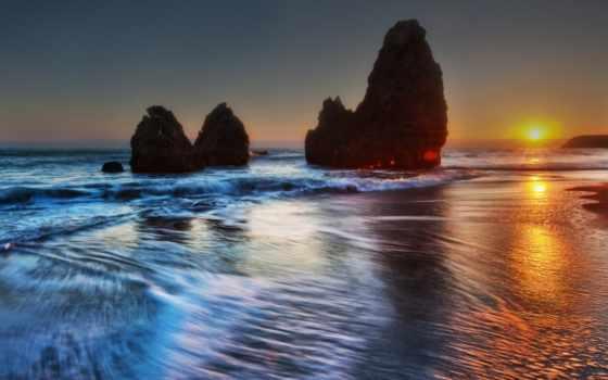 волна, закат, пляж