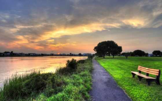 природа, изображение, скамейка, gardens, lakes, desktop, фото, газон, trees, free,