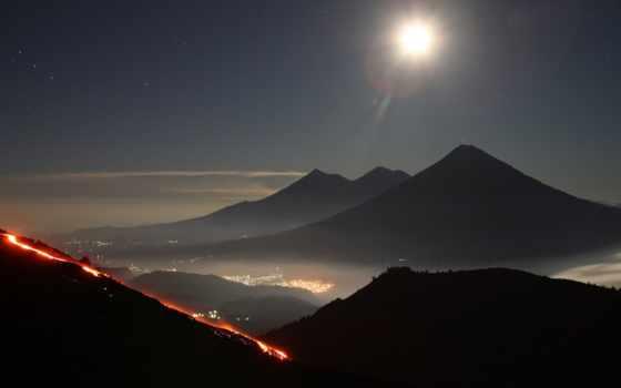 горы, гватемала, вулкан, небо, звезды, извержение, огни,