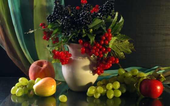 фрукты, виноград, натюрморт, персик, apple, ягоды,