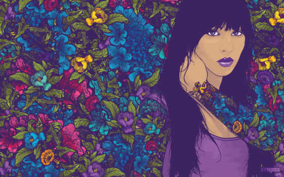девушка, тату, цветочной, татуировка, cvety,