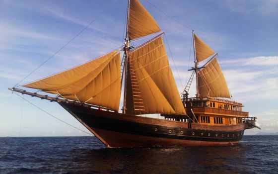 корабль, barco, pantalla, fondos, море, паруса, del, barcos, fondo,