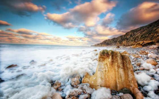 небо, water, море, закат, photography, пляж, ocean, природа, rocks, пенка, cool,