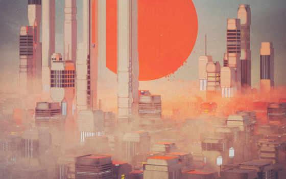 futuristic, город, art, print, рубашка, sci, posters, небо, annray,