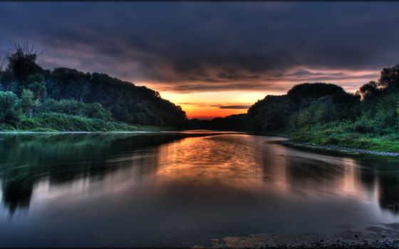 природа, закат, над, марк, twain, небо, красивый, return, назад, солнца,