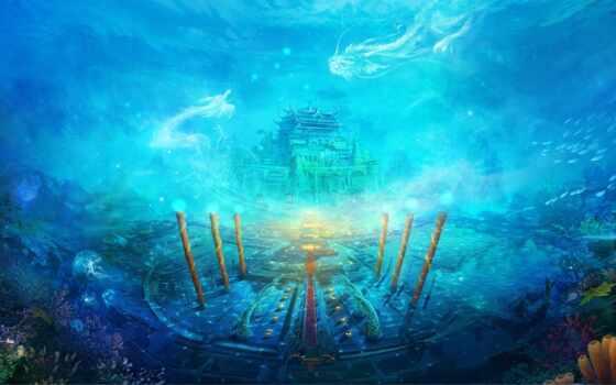 fantasy, underwater, море, город