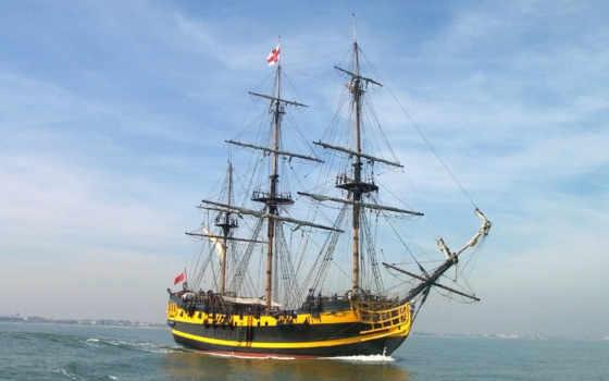 ship, разное, паруса, парусник, опустивши, панно,