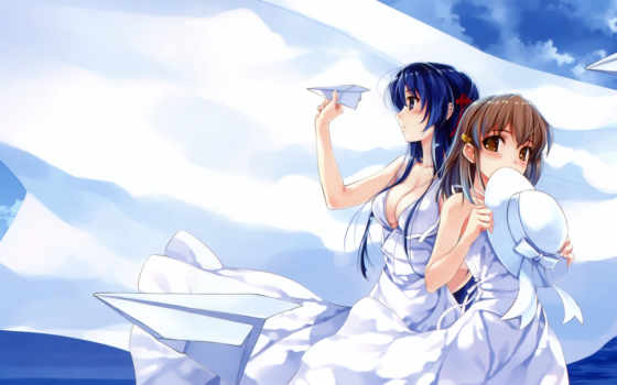 blue, sky, white, deep, pure, wings, anime, dress, misaki, kurehito, koga, sayoko, hair, suiheisen, miyamae, tomoka, mile, nan, made, tsuyazaki, tags, kokage,
