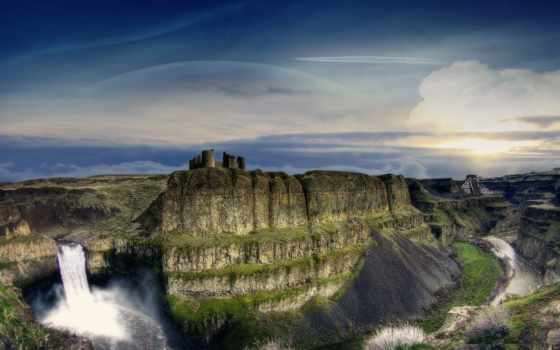 ущелье, водопад, world