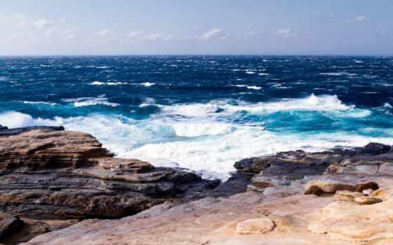 природа, море, landscape, буря, waves, ocean, скалы, взгляд, камни,