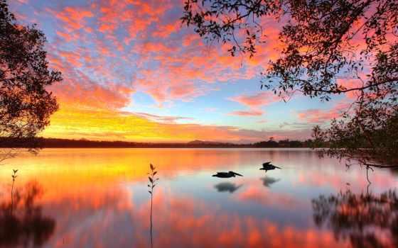 восход, mobile, закат, beaches, отражение,