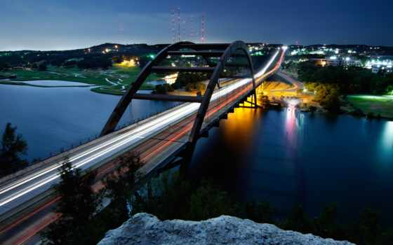 мост, pennybacker, cool, austin, nice, огни, picscom, город,