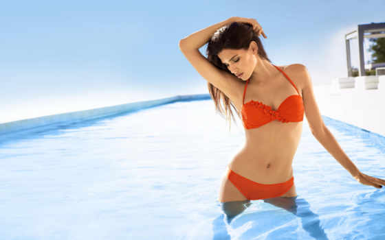 девушка, бассейн, купальник, raica, oliveira, модель, brunette, devushki, бассейне,